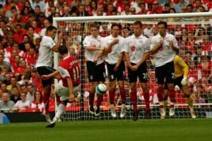 a soccer free kick