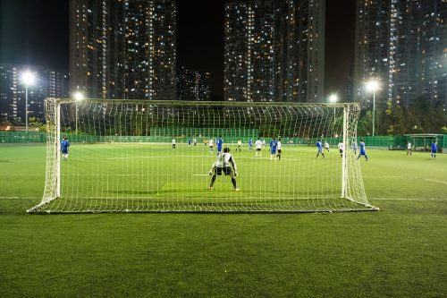 a night time soccer game